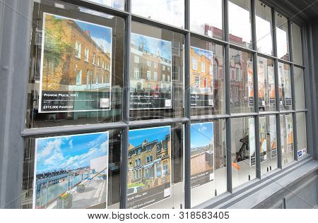 London England - June 3, 2019: Real Estate Listing Advertisement London Uk