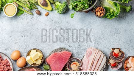 Ketogenic Diet Low Carb Concept. Vegetarian And Animal Protein, Carb And Fat Sources. Healthy Food B