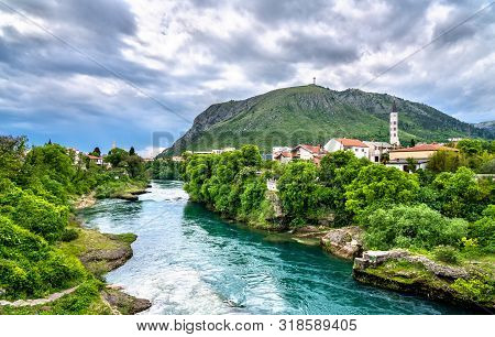 View Of Mostar Town At The Neretva River In Bosnia And Herzegovina