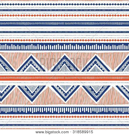 Blue And Coral Hand Drawn Tribal Stripes And Zig-zags Vector Seamless Pattern. Stylised Dense Ethnic
