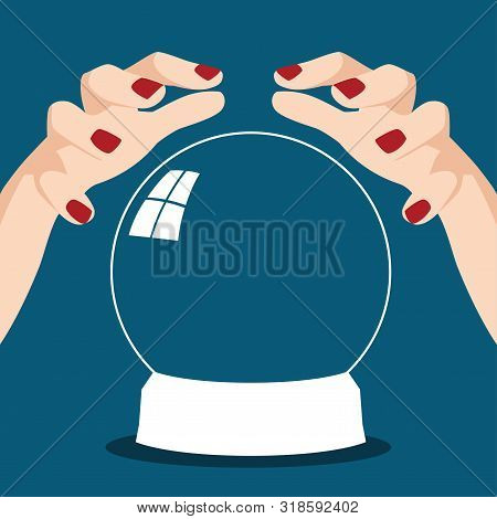 Cartoon illustration of a fortune teller hands with crystal ball poster