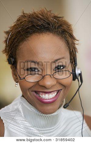 Medewerker van de klantenservice met Headset