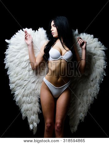 Divine Lovers. Impeccable Body. Fallen Angel. Attractive Sensual Woman Angel Wings. Innocent Pure Gi