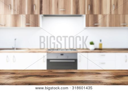 Close Up Of White Kitchen Countertops, Blurred