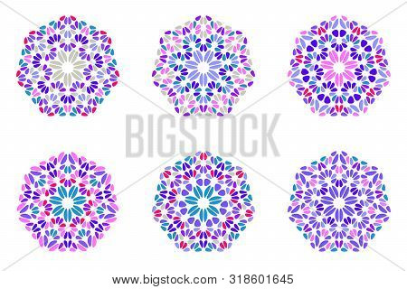Abstract Isolated Floral Mosaic Ornament Heptagon Symbol Set - Geometrical Colorful Ornamental Vecto