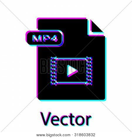 Black Mp4 File Document. Download Mp4 Button Icon Isolated On White Background. Mp4 File Symbol. Vec