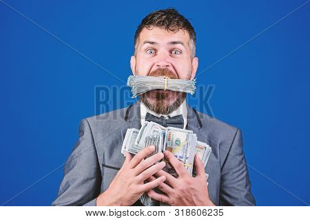 Happy Bearded Man Has A Lot Of Money. Business And Sport Success. Winning A Lottery. Businessman Aft