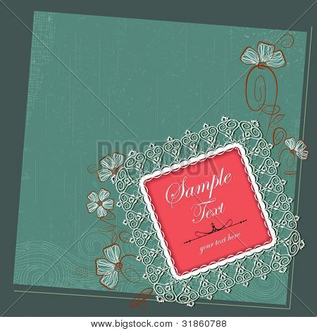 illustration of lace photo frame on floral grungy background