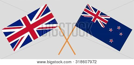 New Zealand and the UK flags. Official colors. Correct proportion. Vector illustration poster