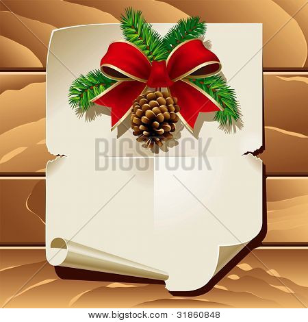 Xmas ribbon and blank paper leaf on wooden background. Rasterized version