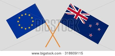 New Zealand And Eu Flags. Official Colors. Correct Proportion. Vector Illustration