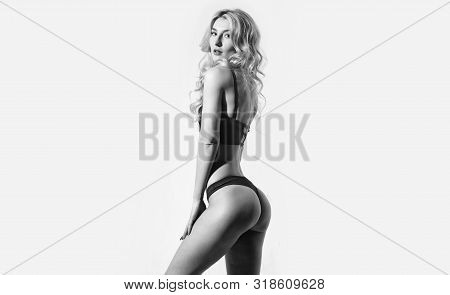 Gorgeous Woman. Girl Slim Sexy Fashion Model Curly Hairstyle. Sexy Underclothing Fashion. Woman Wear