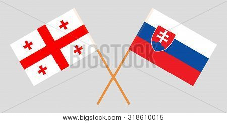 Georgia And Slovakia. Crossed Georgian And Slovakian Flags. Official Colors. Correct Proportion. Vec