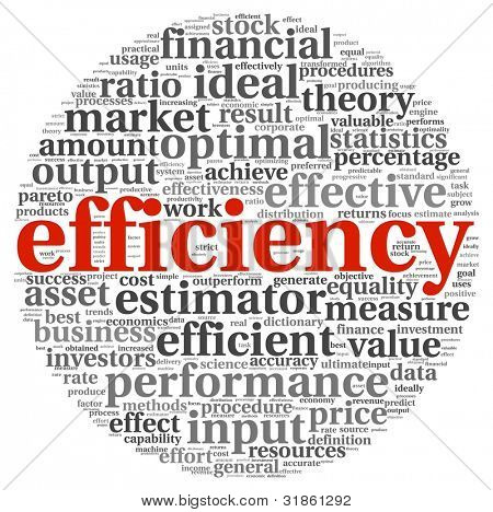 Efficiency concept in word tag cloud on white background