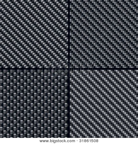 Set of four carbon fiber seamless patterns. Rasterized version