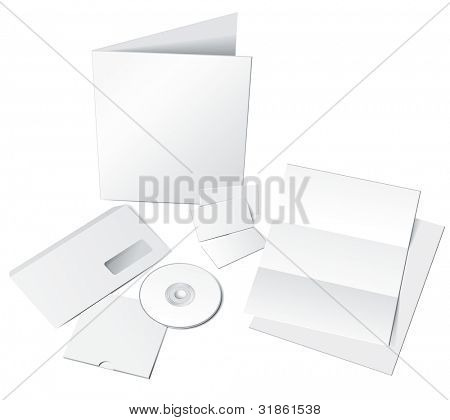 Letter, Envelope, B-cards, CD and Folder template isolated on white. Rasterized version