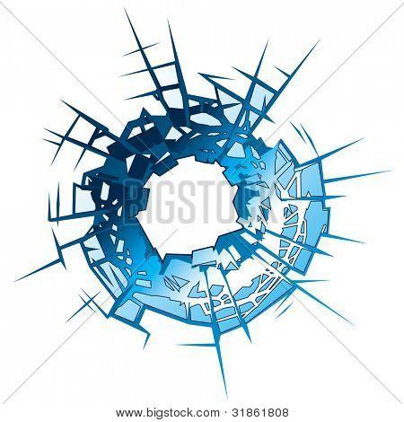 Bullet Hole in glass. Rasterized version