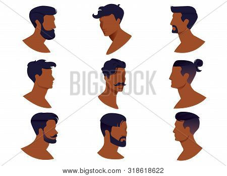 Set Of Men Hairstyles With Beards And Mustache Isolated On White Background. Collection Contemporary