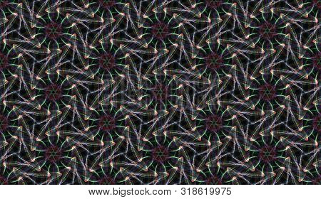 Psychodelic Seamless Multi Colored Pattern On Black Background. Abstract Ornament Of Repeating Glowi