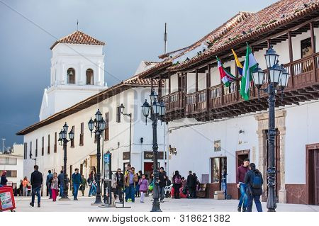 Tunja, Colombia - August, 2019:  Tourists And Locals At The Beautiful Bolivar Square In Tunja City