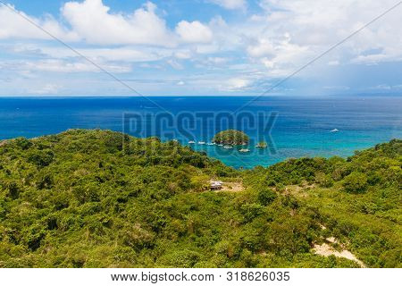 Aerial View From The Drone On The Landscape Tropical Sand Beach With Palm Trees. Summer Vacation Con