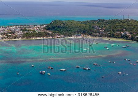 Aerial View From The Drone On Boracay Island, Phillipines. Summer Vacation Concept.