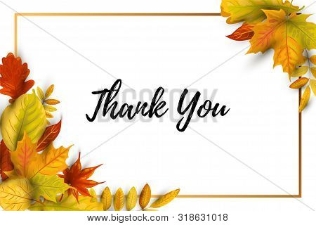 Thank You Card. Autumn Background With Falling Leaves, Golden Frame. Place For Text. Great For Brida