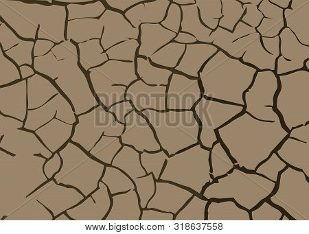 Details Brown Broken Ground For Abstract Background. Dry Ground Parched Soil Cracked Earth Drawing V