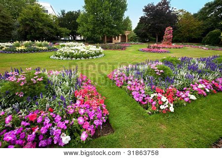 Pretty manicured flower garden with colorful azaleas.