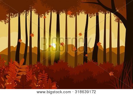 Vector Illustration Of Forest And Tree View In Autumn, Autumn Forest. Autumn Natural Landscape, Yell