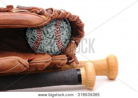 Money Ball Concept: Closeup of a Baseball Glove, and baseball made of money representing the high salaries of atheletes. two bats on white. Bills are fake miniature stage money.