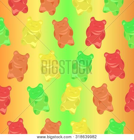 Pattern Gummy Bears On A Colorful Bright Background. Children's, Summer Design.