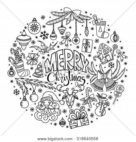 Christmas Doodles Set. Merry Christmas Greeting Card. Black And White Vector Illustration. Hand Draw