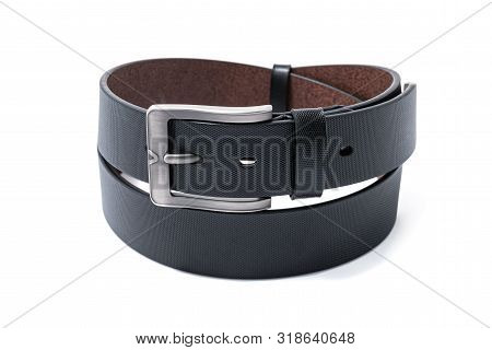 Twisted Black Male Leather Belt Isolated On A White Background