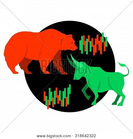 Bullish and bearish symbols. Stock market trends. Players on Exchange. Bulls and bears traders on a stock market. Vector. poster