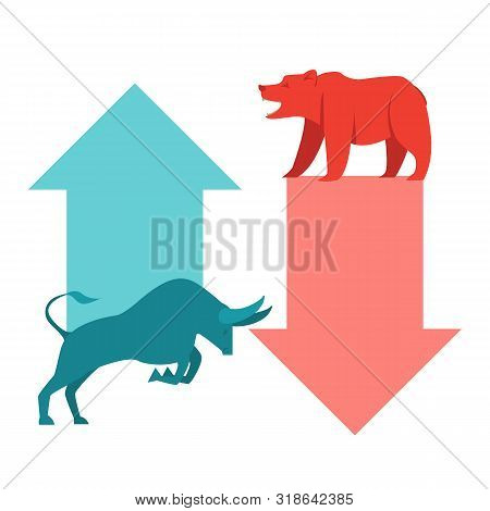 Bullish and Bearish symbols on stock market vector illustration. The symbol of the bear and the bull. The growing and falling market. poster
