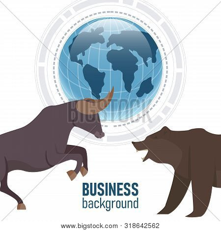 Bullish and Bearish trend in the stock market. Stock market and business concept, vector illustration. poster