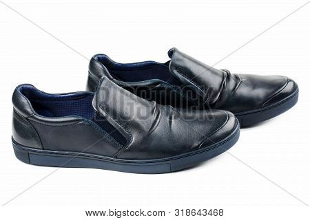 Blue Men's Shoes On A White Background