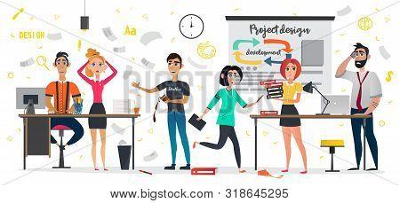 Messy Design Studio, Deadline Meeting, Work Stress Vector Illustration. Cartoon People Hurry Panic.