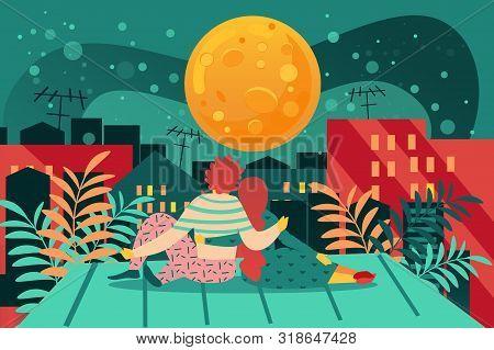 Romantic Evening On Roof. Cartoon Couple Sit On Building Rooftop Vector Illustration. Boy Girl Datin