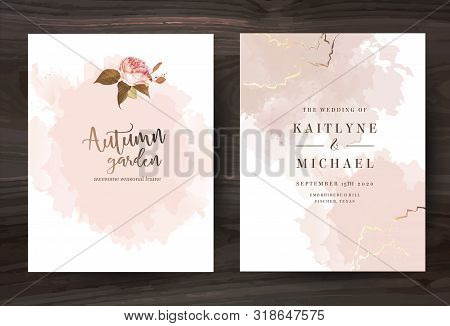 Beige And Rose Gold Watercolor Style Vector Design Cards. Taupe, Creamy, Sepia Color Frames With Bru