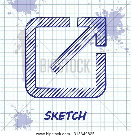 Sketch Line Open In New Window Icon Isolated On White Background. Open Another Tab Button Sign. Brow