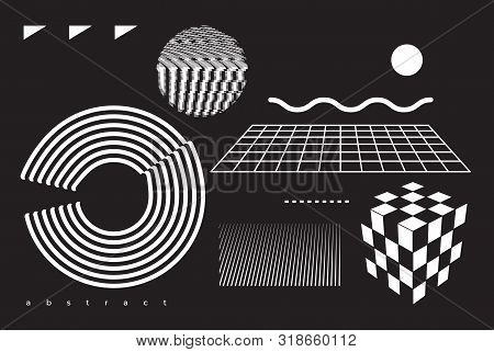 Universal Modern Geometric Shapes Set. Chaotic Composition With Vector Abstract Design Elements For