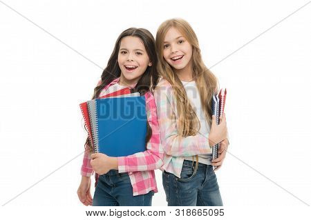 Back To School On September 1. Adorable Little Girls Holding School Exercise Books. Small School Chi