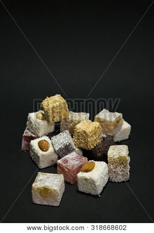 Assorted Traditional Turkish Delight (rahat Lukum). Eastern Sweets.