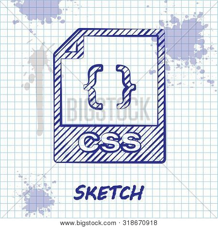 Sketch Line Css File Document. Download Css Button Icon Isolated On White Background. Css File Symbo