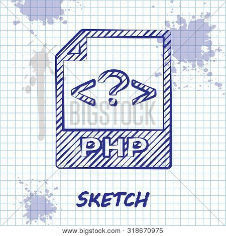 Sketch Line Php File Document. Download Php Button Icon Isolated On White Background. Php File Symbo