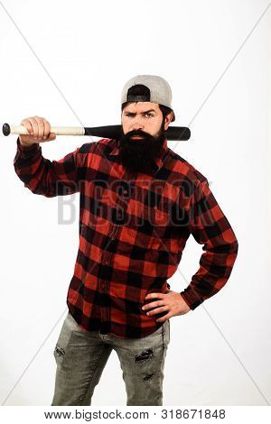 Bearded Man With Baseball Bat. Professional Baseball Player. Man With Baseball Bat On Shoulder. Stro