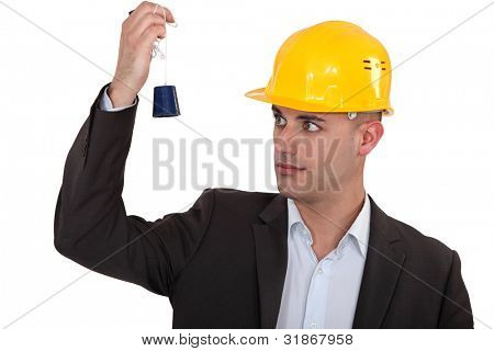 a construction manager watching a lead poster