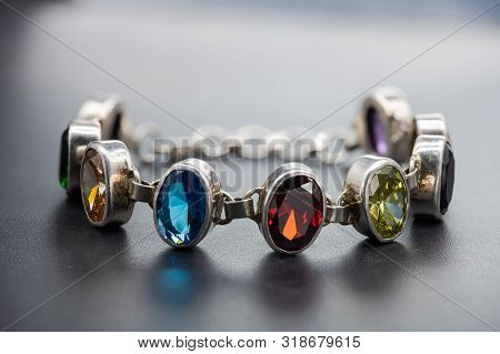 Silver Bracelet With Color Jems Dark Isolated Background Reflection Light Antiques Jewelry